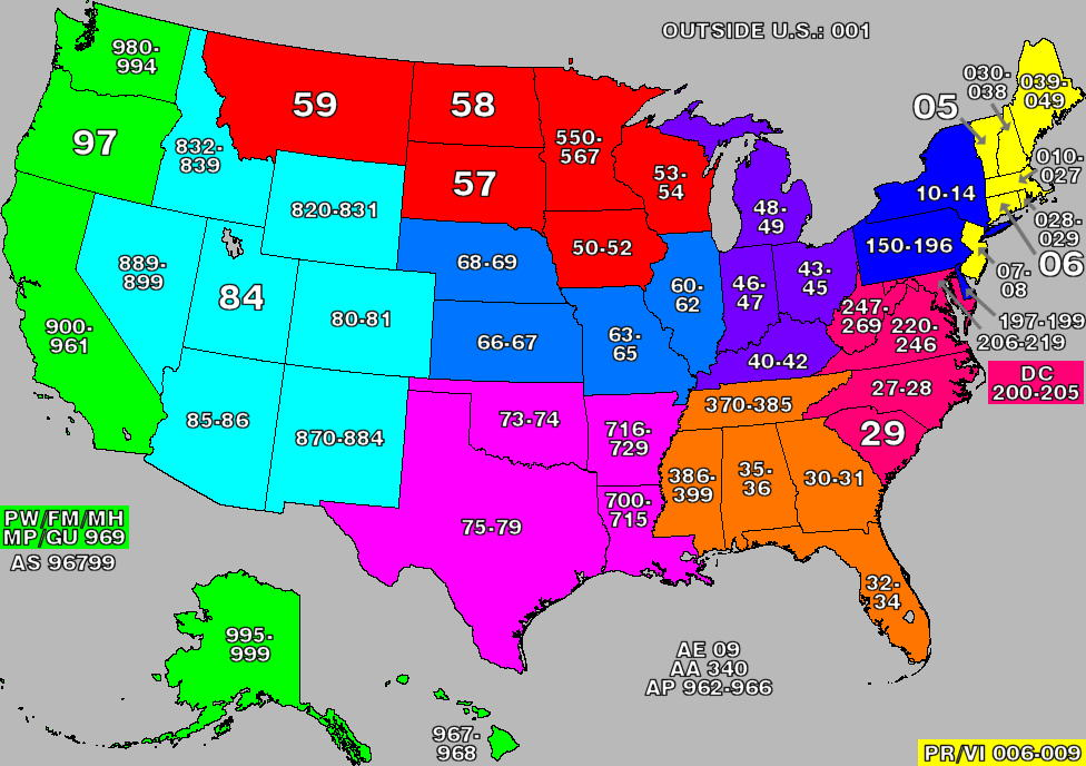Detailed Zip Code Prefix Map